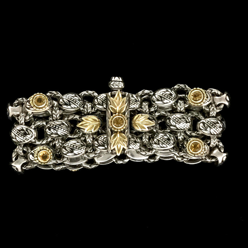 Clasp on Laurel Leaf Bracelet in silver, gold, enamel and Citrine by Bowman Originals, USA