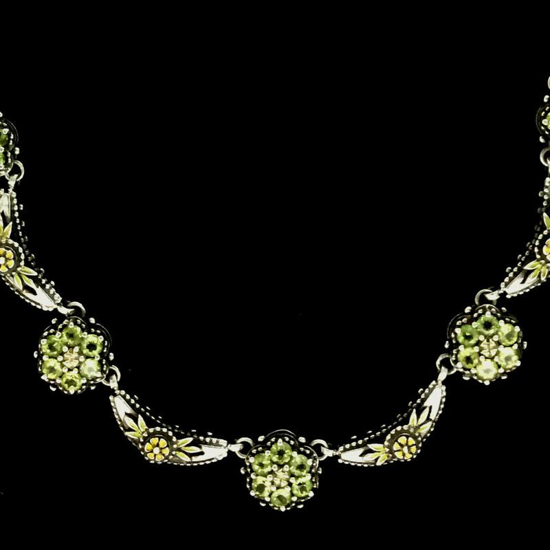 Cluster Necklace, Silver, Gold, Enamel, Gemstones