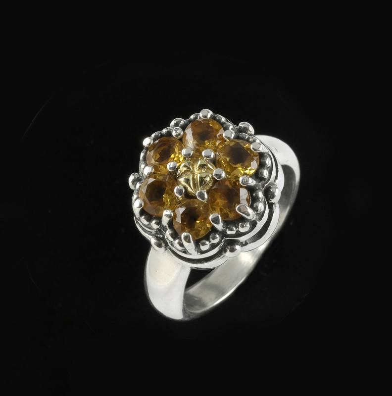 Cluster Ring, Citrine Gemstones, Silver, Gold