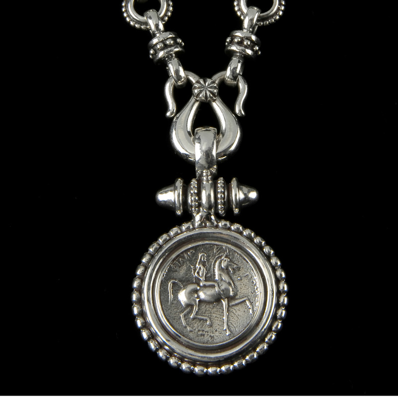 Lady Godiva Necklace beaded pendant in Sterling Silver by Bowman Originals, USA