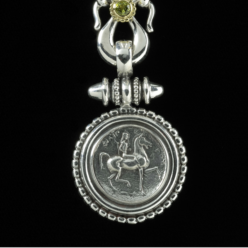 Lady Godiva Necklace Pendant in beaded silver and gold by Bowman Originals, USA