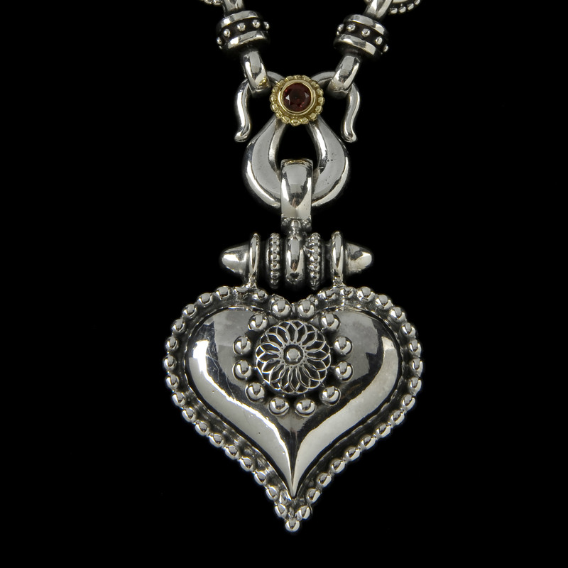 Heart Necklace, Silver, Gold, Garnet