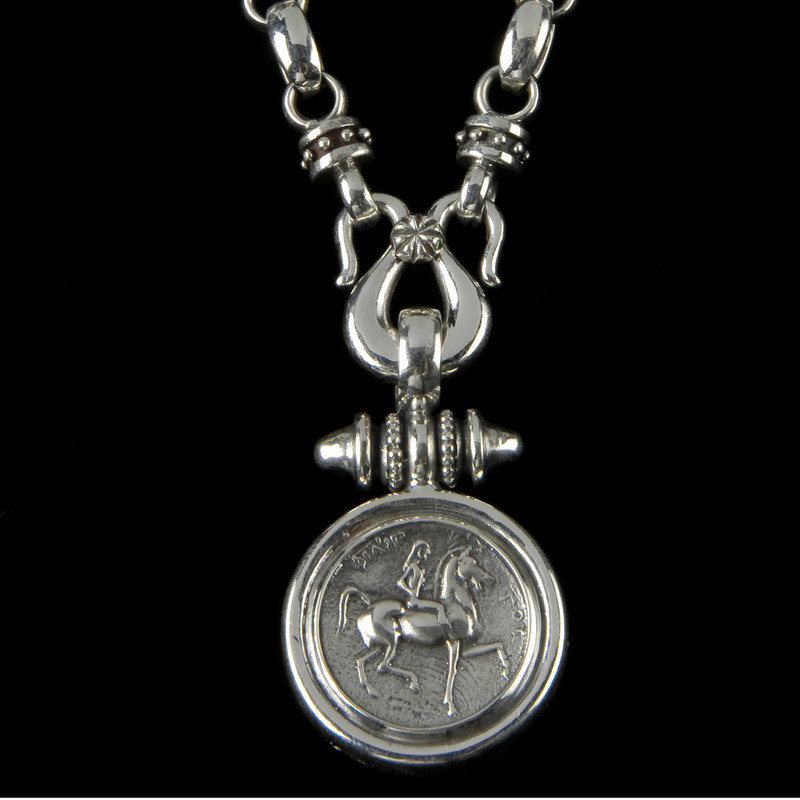 Lady Godiva Necklace pendant in Sterling Silver by Bowman Originals, USA