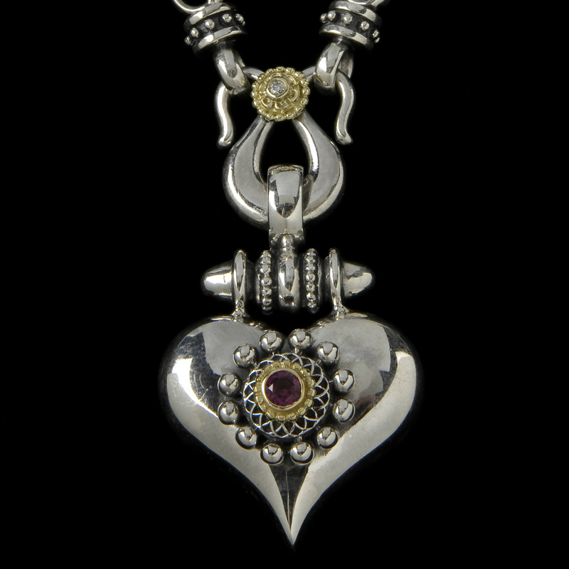 Heart Necklace Pendant in Silver, Gold, Diamond, Garnet by Bowman Originals, USA