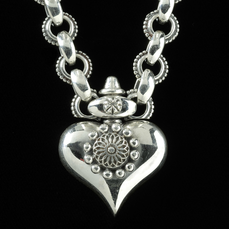 Heart Necklace, Silver, Swivel