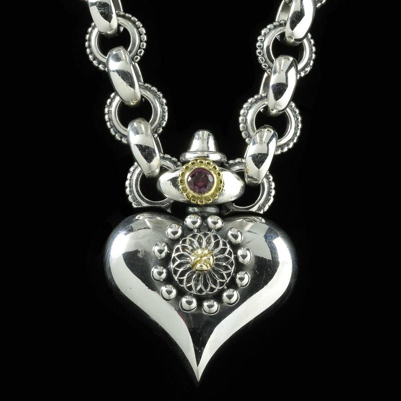 Heart Necklace Pendant handmade Silver, Gold, Garnet by Bowman Originals, USA