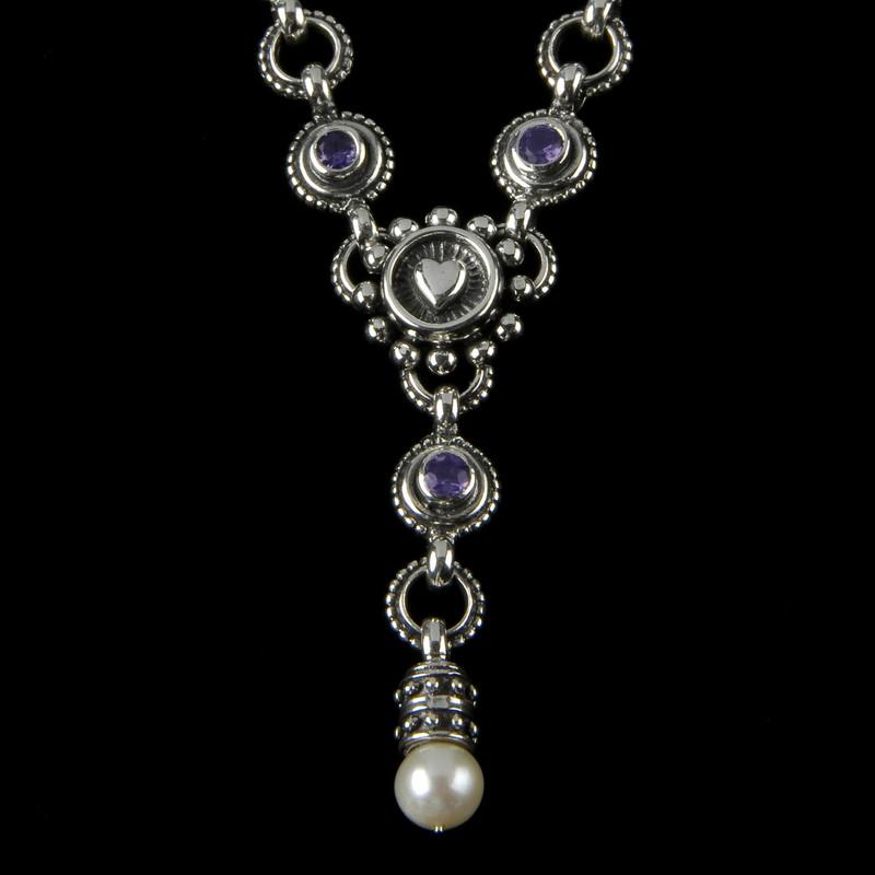 """Heart """"Y"""" Necklace, Silver, Pearl, Gemstone"""