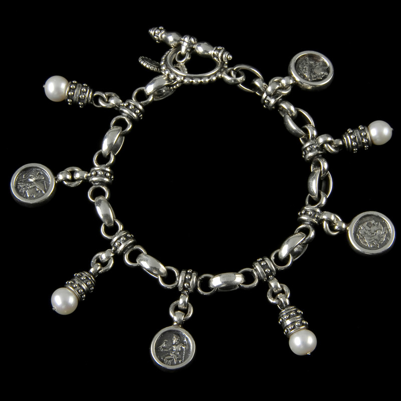 Charm Bracelet with Pearls handmade in Silver by Bowman Originals, USA