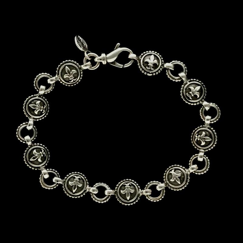 Fleur de lis Bracelet handmade in Sterling Silver by Bowman Originals, USA