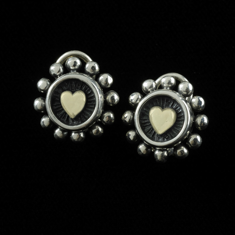 Silver and Gold beaded earrings with posts and omega backs by Bowman Originals, USA