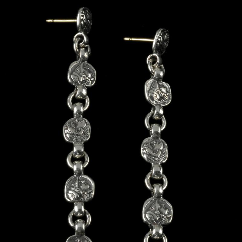 Drop Earrings, Silver, 5 tiers