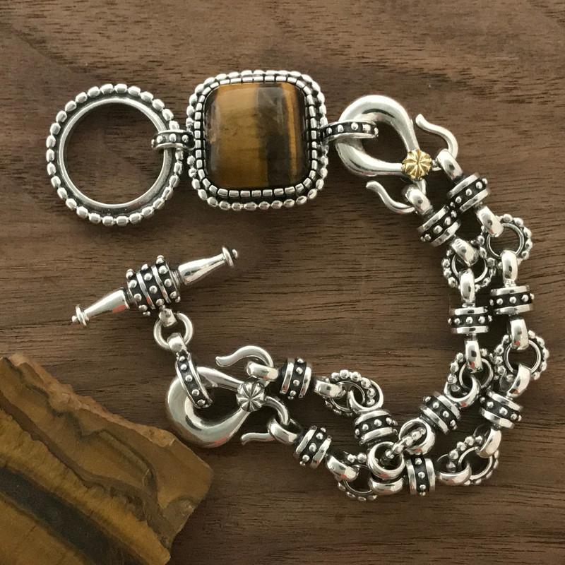 Toggle Bracelet, Silver, Gold, Tigers Eye