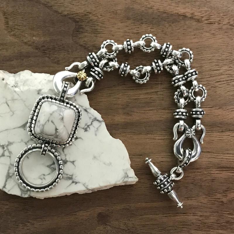 Toggle Bracelet, Silver, Gold, Howlite