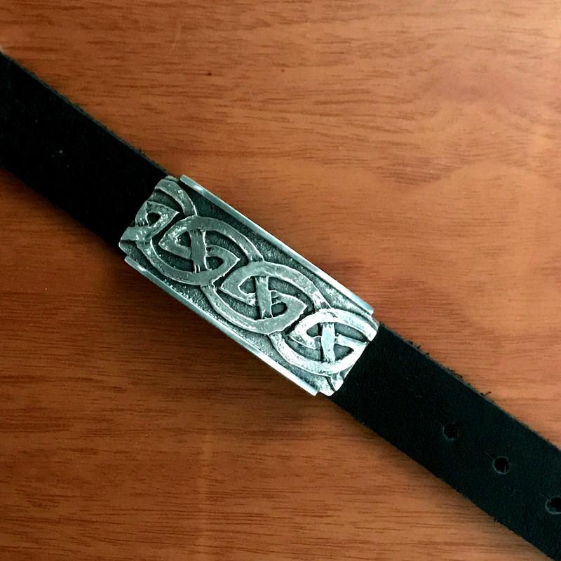 Silver Slide on Leather, Celtic design, adjustable   Bowman Originals, USA