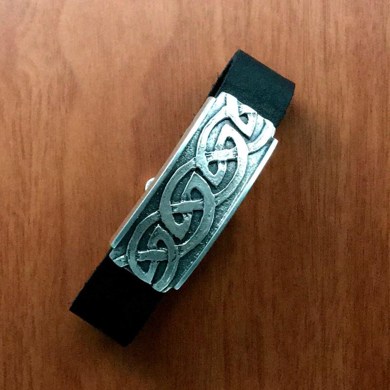 Sterling Silver Celtic Wave bracelet, Leather   Bowman Originals.