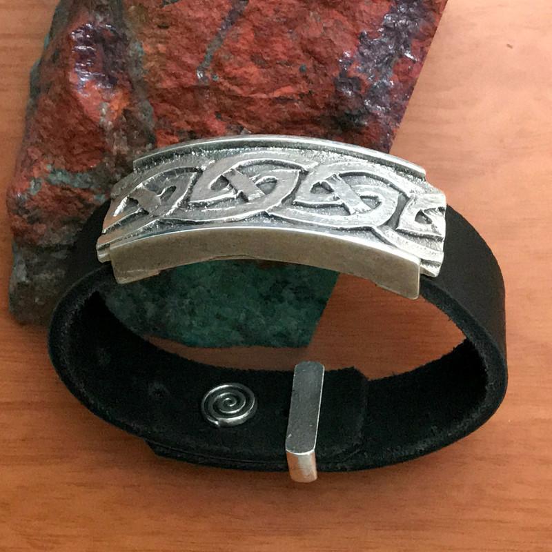 Celtic Wave Silver, Leather adjustable bracelet   Bowman Originals
