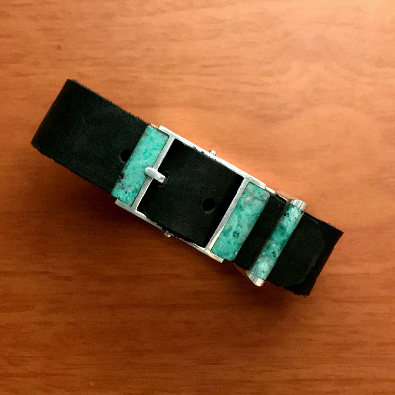 Silver Buckle, Chrysocolla, Leather by Bowman Originals