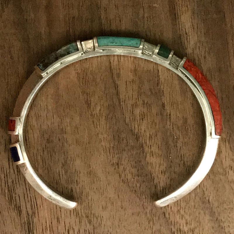 Cuff Bracelet, Organic Silver, Chrysocolla, Lapis Lazuli