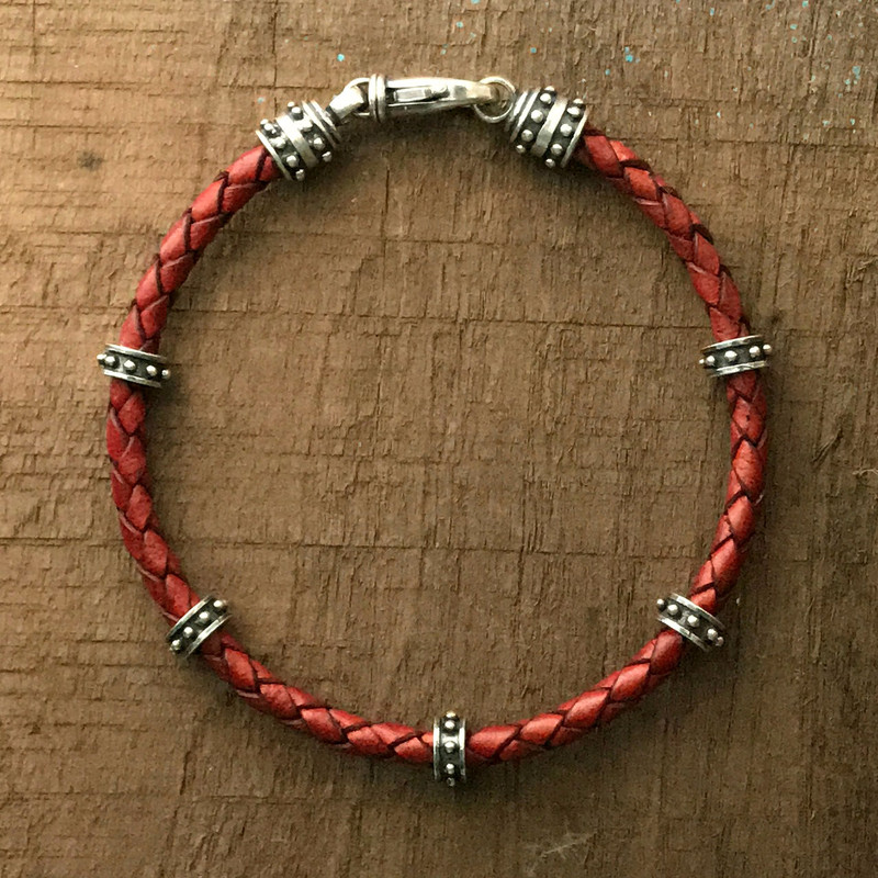 Braided Leather, 3 mm, and Sterling Silver Bracelet handmade | Bowman Originals