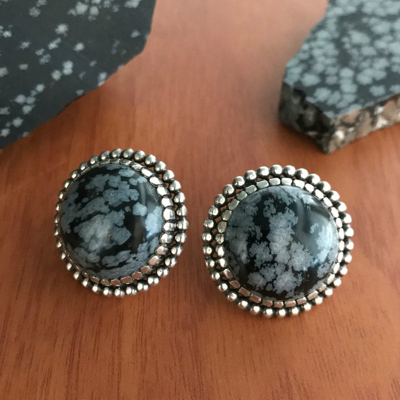 Sterling Silver and Obsidian earrings by Bowman Originals.