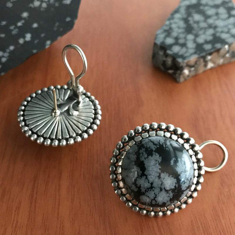 Obsidian Button Earrings, Large