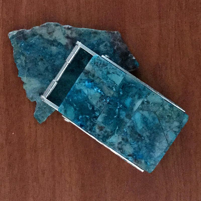 Handmade Belt Buckle, 1.5 in, Silver, Chrysocola in Quartz | Bowman Originals @ 941-302-9594
