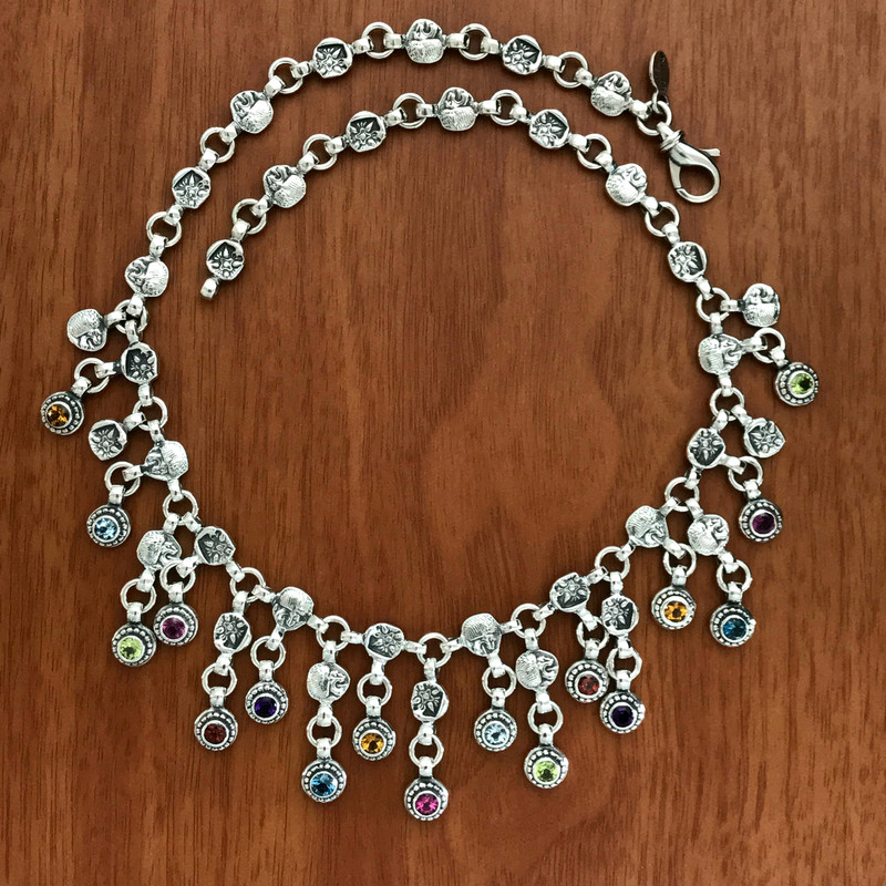 Handmade Sterling Silver multi color necklace by Bowman Originals, 941-302-9594