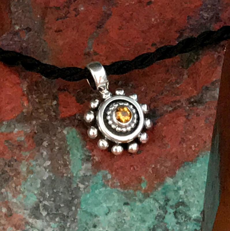 Citrine Beaded Sterling Silver Pendant handmade by Bowman Originals, Sarasota, 941-302-9594