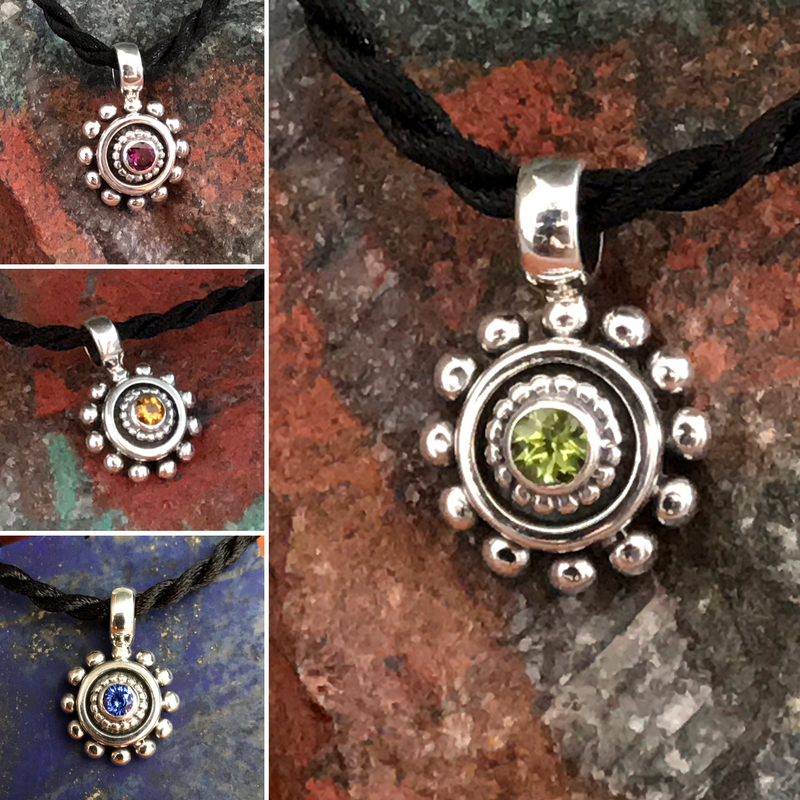 Gemstone Pendants in Sterling Silver on Black Silk Cord by Bowman Originals, Sarasota, 941-302-9594