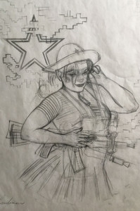 ORIGINAL ART SPEZNAZ AFGHAN RUSSIAN GIRL PENCIL