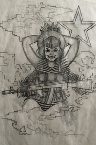 ORIGINAL ART SPEZNAZ AFGHAN RUSSIAN 2 GIRL PENCIL