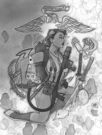 WW2 MARINE FLAMETROWER PINUP GIRL
