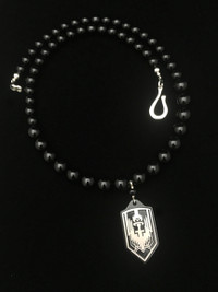 ARCHANGEL MICHAEL BLACK ONYX (BLACKED OUT) TI PROTECTION NECKLACE