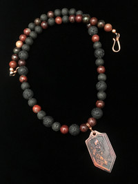 NEW ARCHANGEL MICHAEL BLOODSTONE/LAVA ROCK  PROTECTION NECKLACE