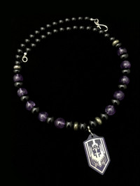 ARCHANGEL MICHAEL AMESTHYST/PYRITE/BLK ONYX/ PROTECTION NECKLACE