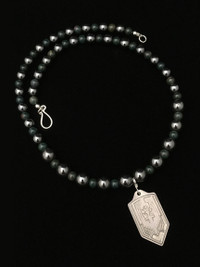 ARCHANGEL MICHAEL BLOODSTONE/HEMATITE PROTECTION NECKLACE