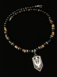 ARCHANGEL MICHAEL ONYX/PYRITE/TIGERS EYE/ TI PROTECTION NECKLACE