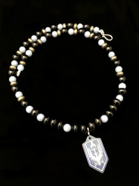 ARCHANGEL MICHAEL ANGELITE/PYRITE/ONYX PROTECTION NECKLACE
