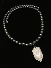 ARCHANGEL MICHAEL BLK HEMATITE/PYRITE/ TI PROTECTION NECKLACE