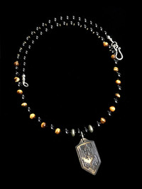 NEW ARCHANGEL MICHAEL TIGER EYE/HEMATITE /BLK ONYX PROTECTION NECKLACE
