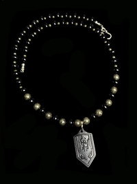 NEW ARCHANGEL MICHAEL BLACK ONYX /PRRITE (BLACKED OUT) TI PROTECTION NECKLACE
