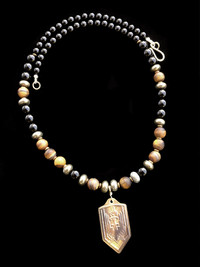 ARCHANGEL MICHAEL ONYX/PYRITE/TIGERS EYE/ PROTECTION NECKLACE
