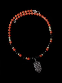 ARCHANGEL MICHAEL CARNELIAN/PYRITE/ONYX TITANIUM PROTECTION NECKLACE