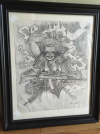 ORIGINAL ART SPEZNAZ AFGHANISTAN 80S RUSSIAN 3 GIRL PENCIL