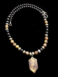 ARCHANGEL MICHAEL BLACK ONYX/PYRITE/TIGERS EYE/ PROTECTION NECKLACE