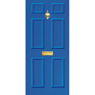 Door Vinyl Decal, Dementia Friendly with Letterbox & Knocker - Blue
