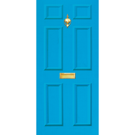 Door Vinyl Decal, Dementia Friendly with Letterbox & Knocker - Light Blue