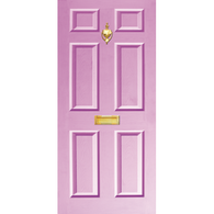 Door Vinyl Decal, Dementia Friendly with Letterbox & Knocker - Lilac
