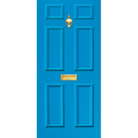 Door Vinyl Decal, Dementia Friendly with Letterbox & Knocker - Mid Blue