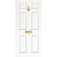 Door Vinyl Decal, Dementia Friendly with Letterbox & Knocker - White